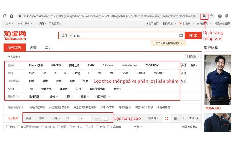Một tips nhỏ là bạn có thể sử dụng công cụ dịch của trình duyệt web ở bước này để có thẻ sử dụng bộ lọc chính xác hơn